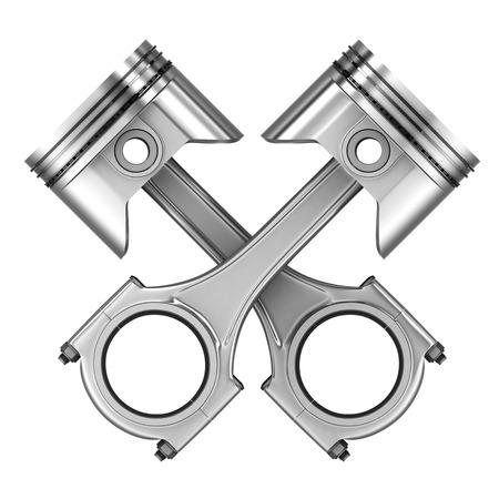 Deux pistons du moteur de la voiture (fait en 3d) Banque d'images