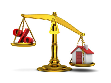 pledge: Balance home down and percent (done in 3d) Stock Photo