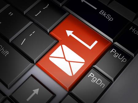 telegrama: Rojo Batton enviar correo electr�nico (hecho en 3d) Foto de archivo