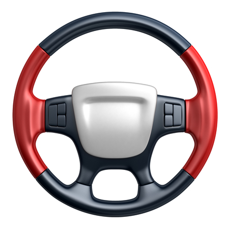Steering wheel car (done in 3d, isolated) Stock Photo