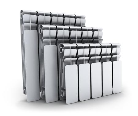 Three radiators on white background (done in 3d) Standard-Bild