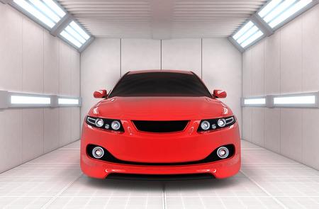 garage: Red car in garage (done in 3d)