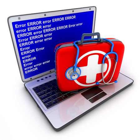 firstaid: Laptop error and first-aid kit (done in 3d)