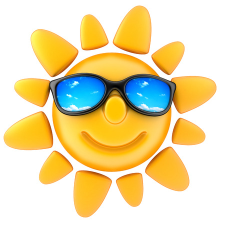 sunbathing: Sun and glasses (done in 3d, isolated) Stock Photo