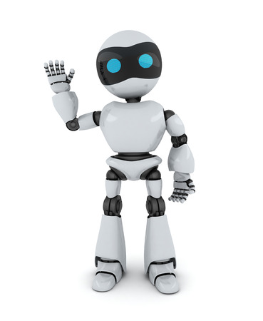 AI: Robot and sign hi (done in 3d)