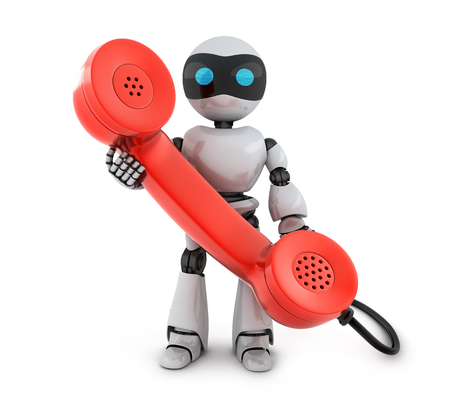 calling on phone: Old telephone and robot (done in 3d)