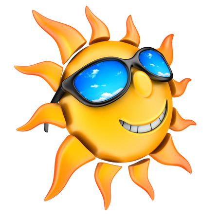 sun tanning: Sun and glasses (done in 3d, isolated) Stock Photo
