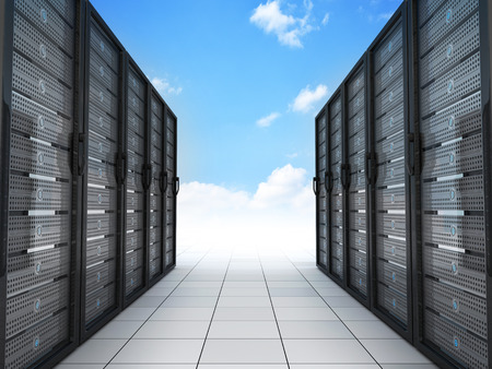 ftp servers: Modern server and sky (done in 3d)