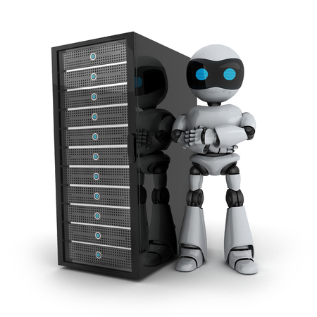ftp servers: Robot and server on white background (done in 3d) Stock Photo