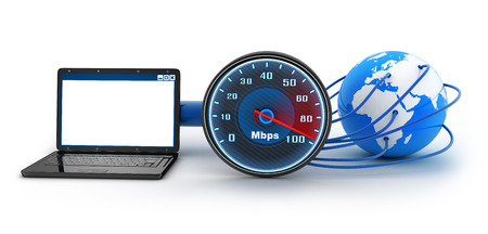 downloads: Laptop and internet connection speed (done in 3d) Stock Photo