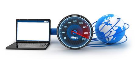 Laptop und Internet-Verbindungsgeschwindigkeit (in 3d)