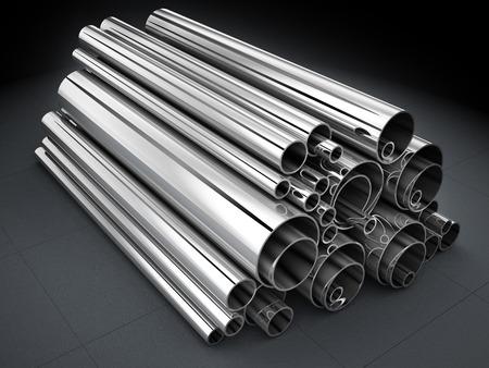 acero: Tubos de acero, laminado de metal (hecho en 3d)