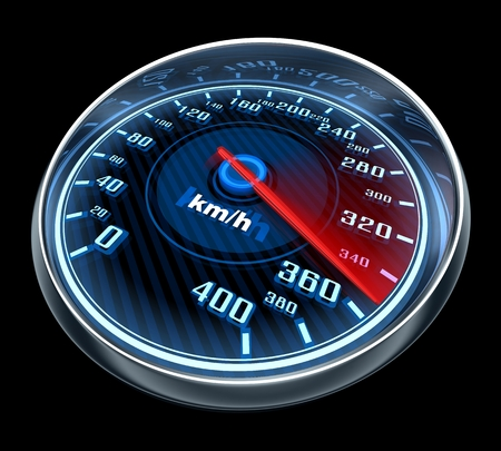 km: speedometer and arrow on 360 (done in 3d) Stock Photo