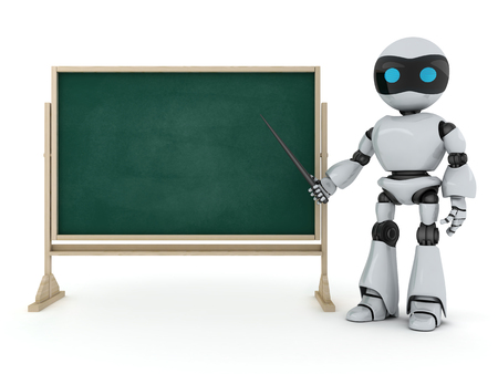demonstrate: Robot e-learning (done in 3d, on white background)