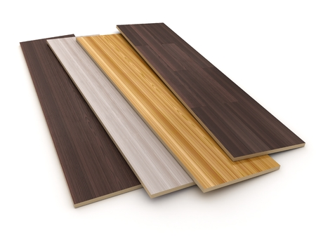 laminate flooring: laminated sheet on white background (done in 3d)