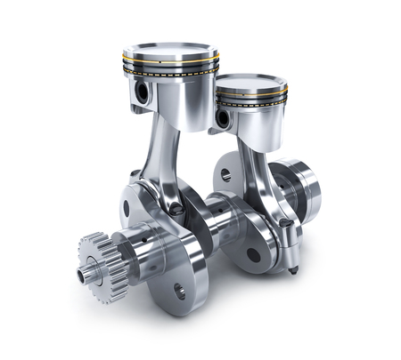 spare part: Crankshaft and pistons on white background (done in 3d)