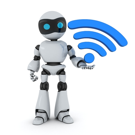 gprs: Robot and symbol Wi-Fi (done in 3d)