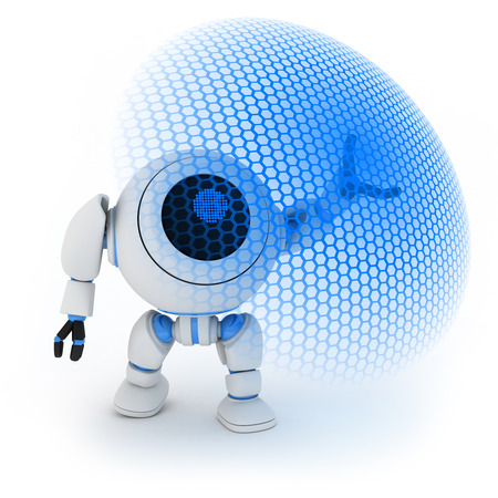 robot with shield: Modern robot and energy shield (done in 3d) Stock Photo