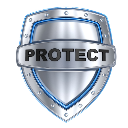 defend: Shield and sign protect (done in 3d, isolated) Stock Photo