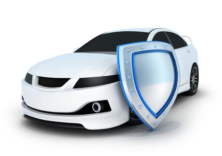 proteccion: El coche deportivo blanco y escudo (hecho en 3d)