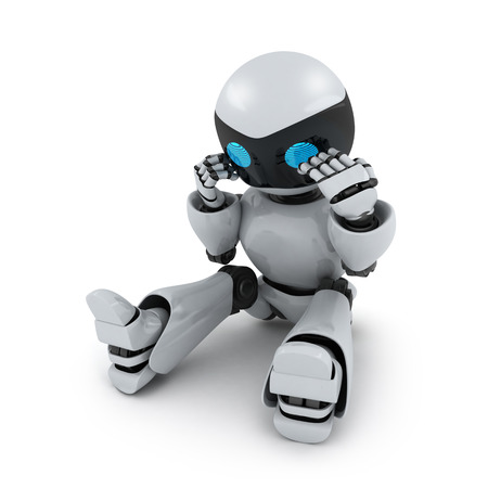 Robot in panic on white background (done in 3d) Stock Photo