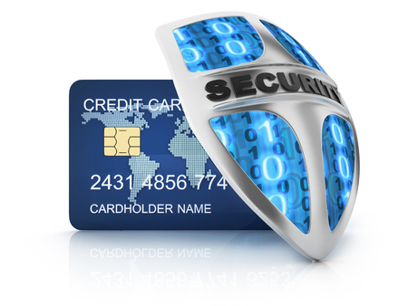 global finance: Credit card and security shield (done in 3d)