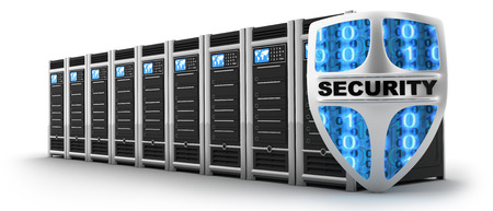 internet protection: Server and shield security (done in 3d) Stock Photo