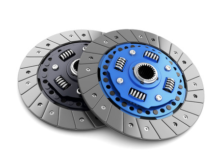 spares: Two clutch disc car on white background (done in 3d, cgi)