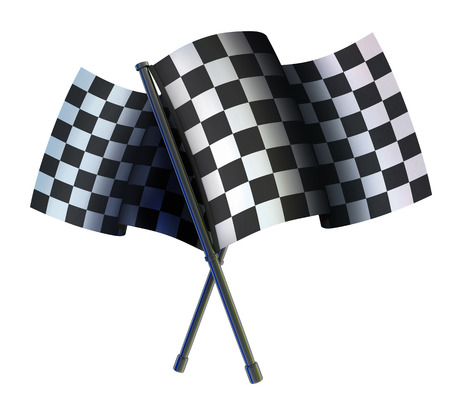 checked: Checked two sport flag (done in 3d) Stock Photo