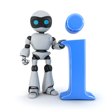 robot: Symbol info and robot (done in 3d) Stock Photo