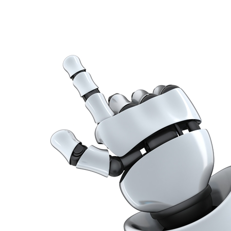 specify: Robot hand specify (done in 3d, isolated) Stock Photo