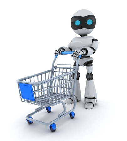 AI: Robot and cart on white background(done in 3d)
