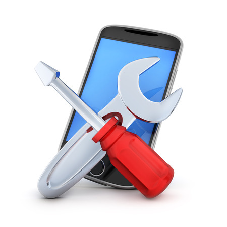 revamp: Phone repair on white background (done in 3d rendering)