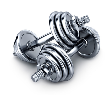 dumbbells on white background (done in 3d rendering)