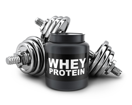 whey: Dumbbells and whey protein on white background (done in 3d rendering) Stock Photo