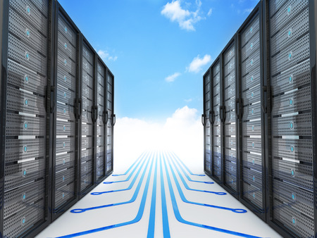 ftp: Modern server and cloud (done in 3d rendering) Stock Photo