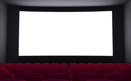 cinematograph: Empty cinema and white screen (done in 3d rendering) Stock Photo