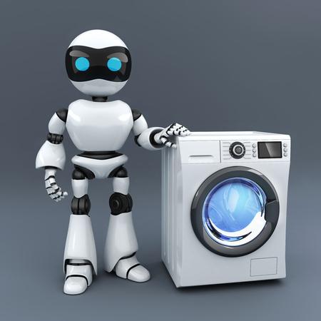 lavadora con ropa: robot blanco moderno y lavadora de ropa (hecho en 3D) Foto de archivo