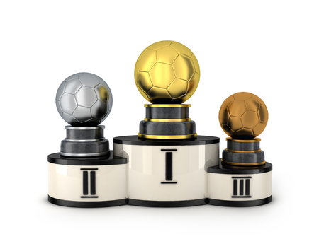 awarded: Podium and three award football (done in 3d rendering)
