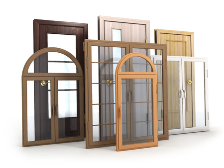 Advertising Windows and doors (done in 3d rendering) Stock Photo