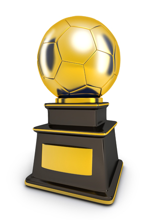 Gold Award cup football in white background (done in 3d rendering)