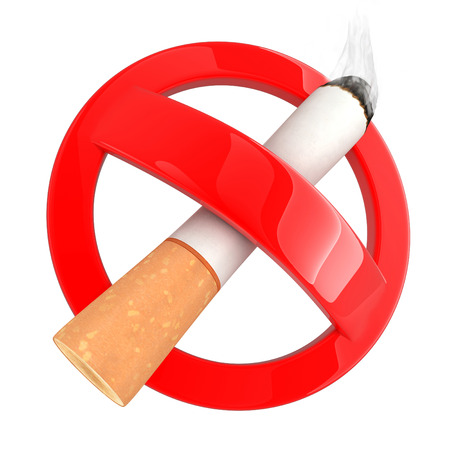 smoking ban: Sign no smoke on white background (done in 3d rendering) Stock Photo