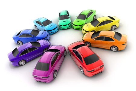 Many cars colour on a white background  (done in 3d rendering) Stock Photo