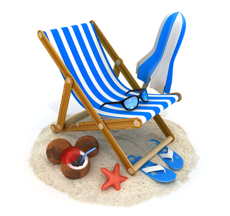 deckchair: Beach bed blue and tent (done in 3d rendering)