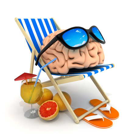 deckchair: Beach bed and brain (done in 3d rendering)