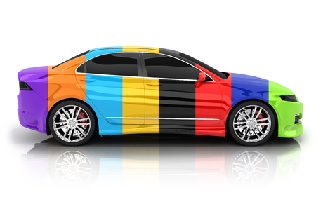 Car in different colors on a white background (done in 3d rendering)