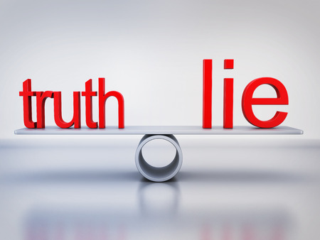 lie: Abstract balance truth and lie (done in 3d rendering) Stock Photo