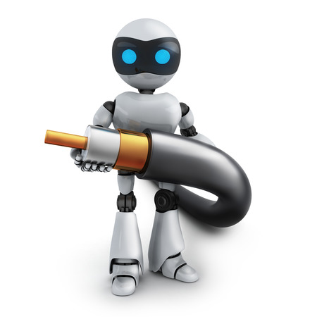 cable tv: Robot and cable (done in 3d rendering) Stock Photo