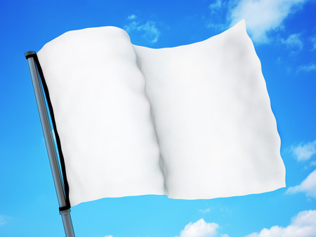 white flag: White flag and sky (done in 3d rendering) Stock Photo