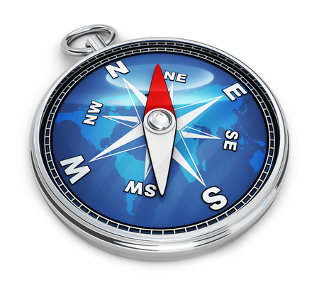 magnetic north: Blue compass only on white background (done in 3d rendering)  Stock Photo